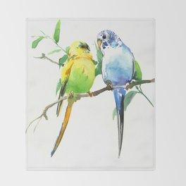 Budgies, Animal art, love, two birds bird artwork, bird pet Throw Blanket