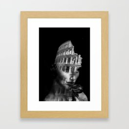 Coliseum. Double exposure portrait Framed Art Print