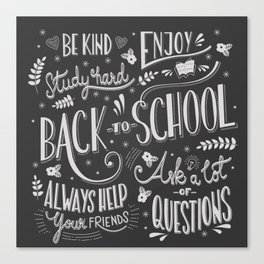 Back to school typography drawing on blackboard with motivational messages, hand lettering Canvas Print