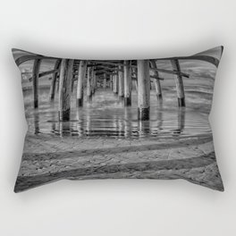 Sunrise Under Newport Pier in Black and White Rectangular Pillow
