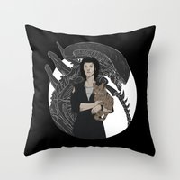 alien Throw Pillows featuring Alien by Vaahlkult