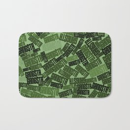GANGSTA jungle camo / Green camouflage pattern with GANGSTA slogan Bath Mat