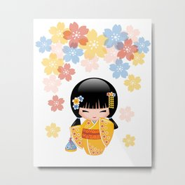 Japanese Summer Kokeshi Doll Metal Print