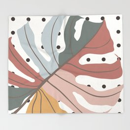 Colorful Monstera Leaf Throw Blanket