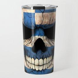 Dark Skull with Flag of Greece Travel Mug