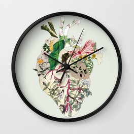 Vintage Botanical Heart On Green Wall Clock