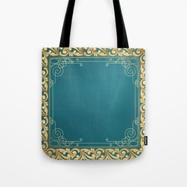 teal and gold belle époque pattern Tote Bag