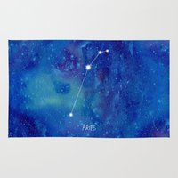 constellation Area & Throw Rugs featuring Constellation Aries by ShaMiLa