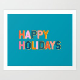 Colorful Happy Holidays Typography Art Print