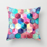 crystal Throw Pillows featuring Topaz & Ruby Crystal Honeycomb Cubes by micklyn