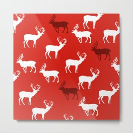 Christmas Reindeers pattern in red colour Metal Print
