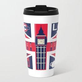 Vintage Union Jack UK Flag with London Decoration Metal Travel Mug