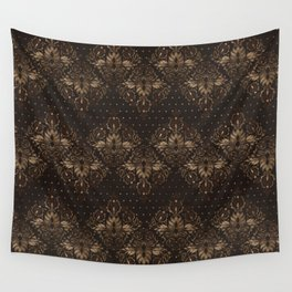 Persian Oriental pattern wood and gold Wall Tapestry