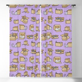 Cats in Cardboard Boxes, on Lavender Blackout Curtain