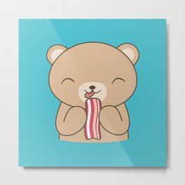 Kawaii Brown Bear Bacon Lover Metal Print