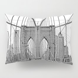 Brooklyn Bridge NYC [Black & White] Poster Print Pillow Sham