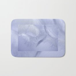 White fluffy feathers blue tone Bath Mat