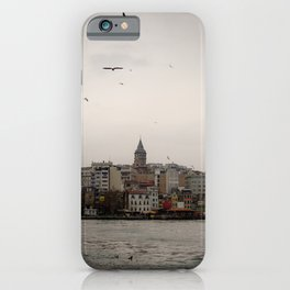 Cityscape of Istanbul and famous Galata Tower iPhone Case