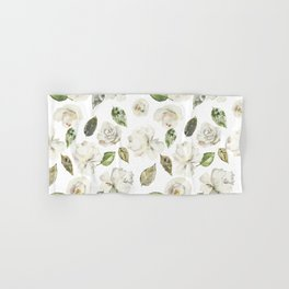 Green brown white watercolor modern floral leaves Hand & Bath Towel
