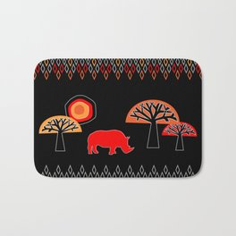 African Rhino (Hot colors) Bath Mat