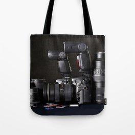 Set of photographs DSLR camera, lens and flash Tote Bag