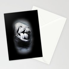 Woman in Black Stationery Cards
