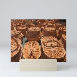 Wicker baskets for sale Mini Art Print