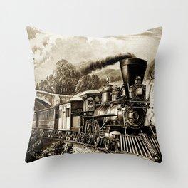Vintage steam train illustration Throw Pillow