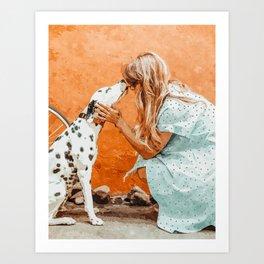 Pet Bound #pets #animals #animalslover #painting Art Print