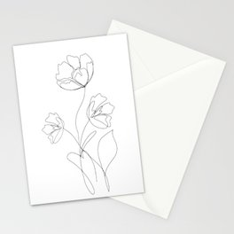 Poppies Minimal Line Art Stationery Cards