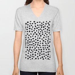 Hand Drawn Polka Dots, Spots Black &  White Unisex V-Neck