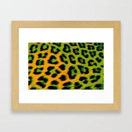 Gold and Apple Green Leopard Spots Framed Art Print