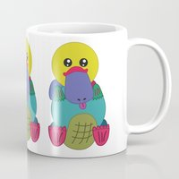 platypus Mugs featuring Rainbow Platypus by Joy Deits