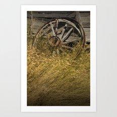 Broken Farm Wagon Wheel Art Print