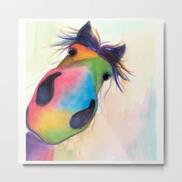 HAPPY HORSE 'MORELLO' BY SHIRLEY MACARTHUR Metal Print