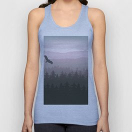 mountain forest in fog and sunrise with stars Unisex Tank Top