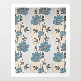 Greenish Blue Flower Garland Art Print