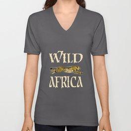 Cheetah Animal Motif Africa Savannah Lovers Motif Unisex V-Neck