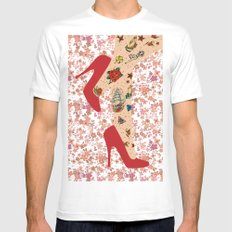 Red Walk MEDIUM Mens Fitted Tee White