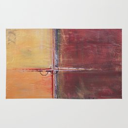 Cargo - Textured Abstract Painting - Red, Gold and Copper Art Rug