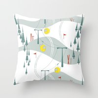 ski Throw Pillows featuring Retro Ski by Julie's Fabrics & Thingummies