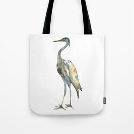 Crane #2 - Bird Ink Painting in subdued blue Tote Bag