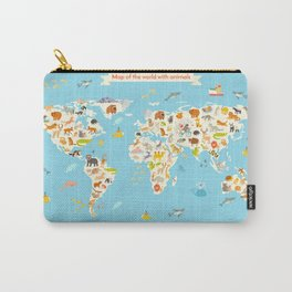 Animals world map vector illustration Carry-All Pouch