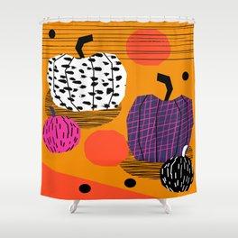 Yar - pumpkin halloween fall autumn throwback retro style fashion urban trendy 1980s 1980 80s 80's  Shower Curtain