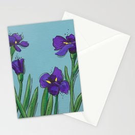 Irises on Blue Stationery Cards