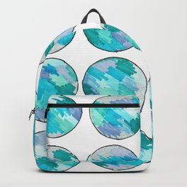 'An Ocean Dream' Abstract Illustration in blue, turquoise, aqua and silver Backpack