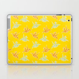 Yellow Origami Crane Japanese Kimono Pattern Laptop & iPad Skin