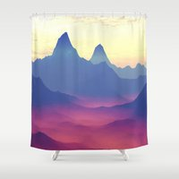ashton irwin Shower Curtains featuring Mountains of Another World by Phil Perkins