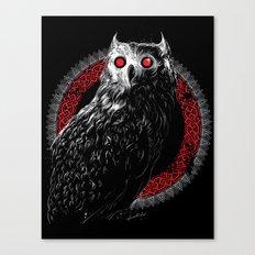 Midnight Owl - Red Canvas Print