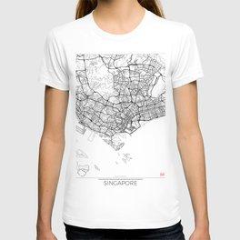 Singapore Map White T-shirt